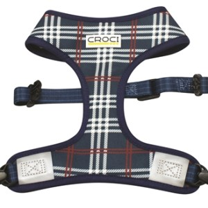 Croci hondentuig cambridge tweezijdig ruit / visgraat blauw / rood