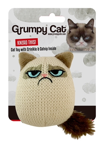 Grumpy knit pouncey cat toy
