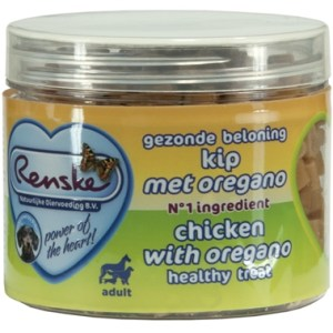 Renske hond gezonde beloning mini hartjes kip / oregano