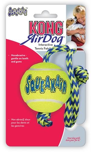 Kong air squeaker ball met touw geel/blauw