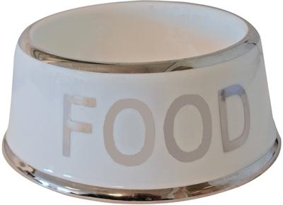 Voerbak hond food wit/zilver
