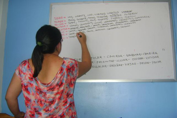 A sneaky picture my friend took of me practicing Spanish in Sucre, Bolivia.
