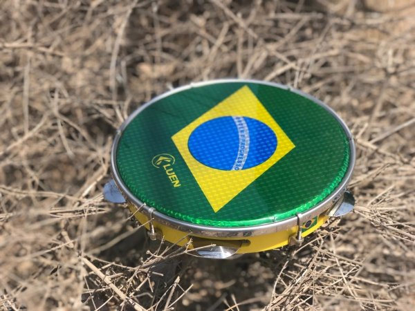 "8"" Holographic Brazilian Flag Pandeiro for Kids - ZumZum Capoeira Shop"