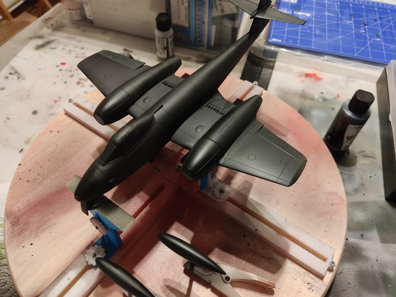 [Work-in-Progress] Airfix Gloster Meteor F.8 - After a coat of primer (Mig One Shot Primer - Black)