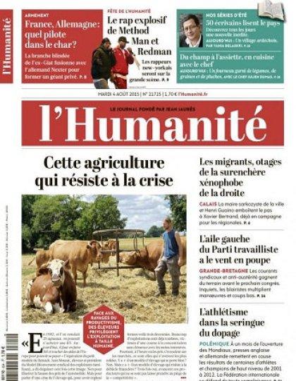 L'Humanite Du Mardi 04 Aout 2015