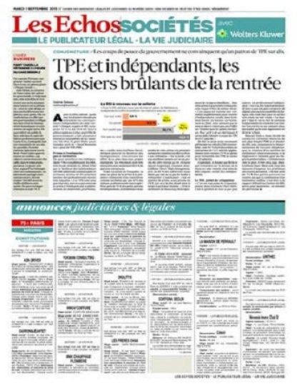 Les Echos Sociétés Du Mardi 1er Septembre 2015