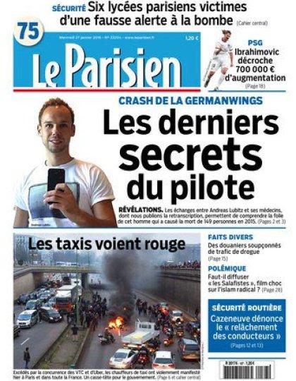 Le Parisien + Journal de Paris du mercredi 27 janvier 2016
