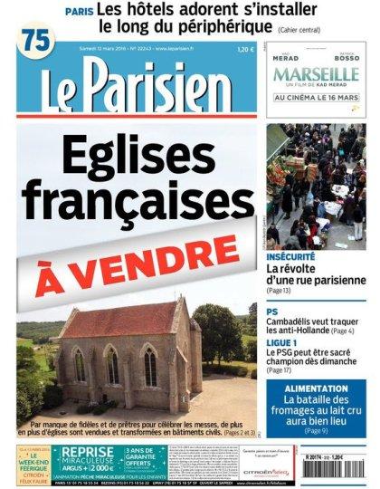 Le Parisien + Journal de Paris du samedi 12 mars 2016