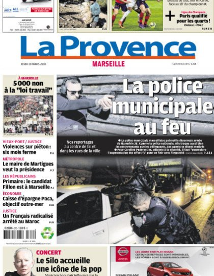 La Provence Marseille du jeudi 10 mars 2016