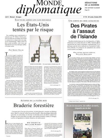 Le Monde Diplomatique N°751 - Octobre 2016