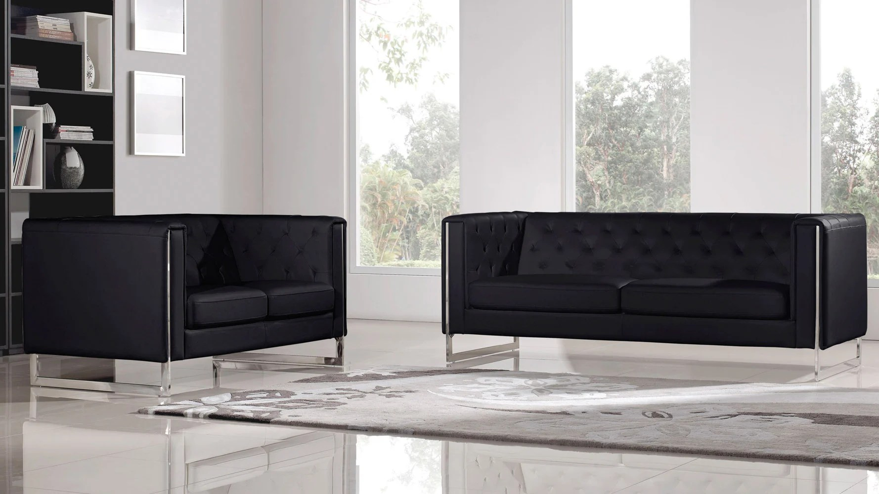 Easton Sofa And Loveseat Set Black