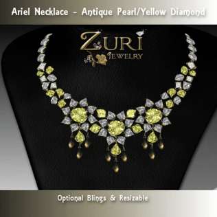 Ariel Necklace - Antique Pearl-Yellow Diamond