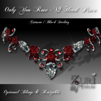 Only You Rose V2 Head Piece-Crimson Blk Sterling