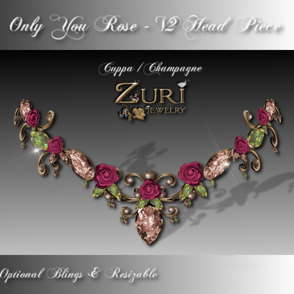 Only You Rose V2 Head Piece Cuppa Champagne