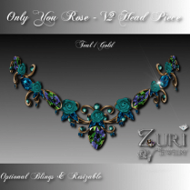 Zuri Rayna-Only You Rose V2 Head Piece Teal-Gold