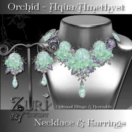 Orchid Set - Aqua Opal-Amethyst- EASTER HUNT ITEM