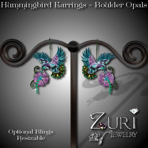 Hummingbird Earrings - Boulder Opals
