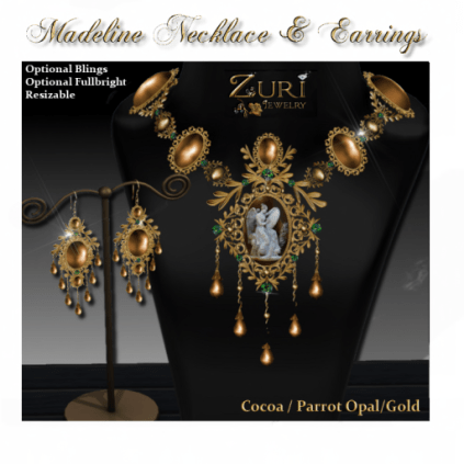 Madeline Necklace & Earrings-Cocoa-Parrot Opal-Gold