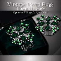Vintage Pearl Ring - Emerald - Sage