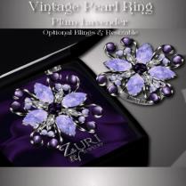 Vintage Pearl Ring - Plum-Lavender