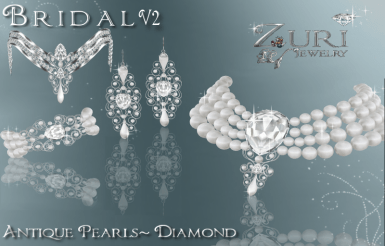 Antique White Pearl Bridal Set V2 by Zuri Rayna