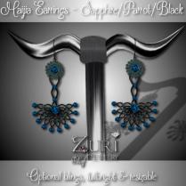 Maija Earrings - Sapphire_Parrot_Black