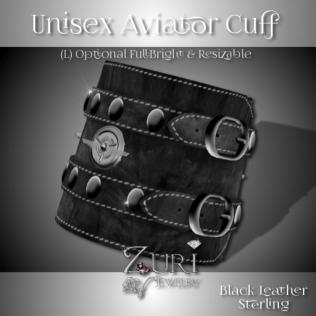 Unisex Aviator Cuff (L) Black Leather-Sterling