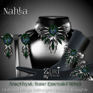 Zuri Rayna - Nahla Set - Amethyst Lime_Emerald_SteelPIC