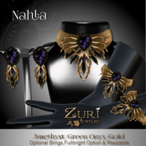 Zuri Rayna~ Nahla Set - Amethyst_Green Onyx_GoldPIC