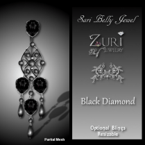 Zuri Rayna~Sari Belly Jewel - Onyx-Black DiamondPIC