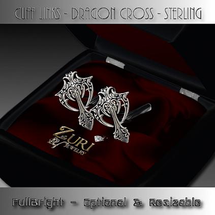 Cuff links - Dragon Cross - Sterling