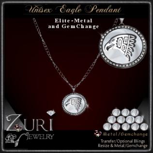 Elite Eagle metal gemchange pendant Zuri Jewelry