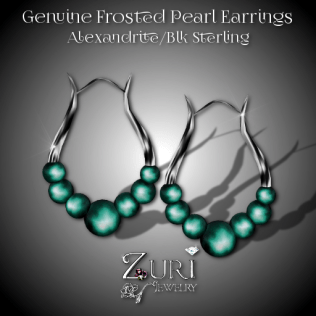 Genuine Frosted Pearl Earrings - Alexandrite-Blk Sterling