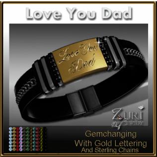 Love You Dad Gemchanging Bracelet- Gold-Sterling