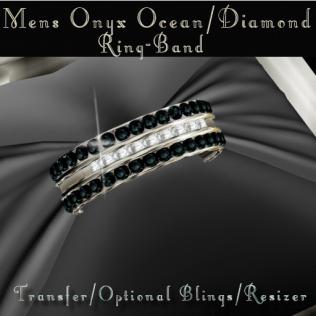 Mens Onyx Ocean-Diamond Ring