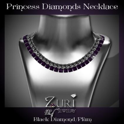 Princess Diamonds Necklace - Black Diamond-Plum