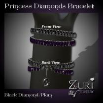 Princess Diamonds V2- Bracelet - Black Dia-Plum