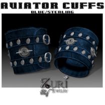 Unisex Aviator Cuffs-Blue-Sterling