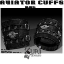 Unisex Aviator Cuffs-Steel Black-Sterling