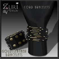 Zuri Rayna-Cord Leather Bracelets-Gold 55L