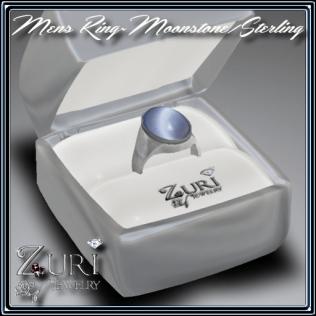Zuri Rayna~ Mens Ring~Moonstone-SterlingPIC
