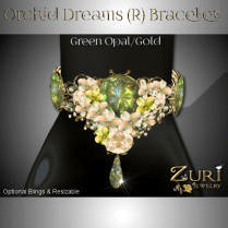 Zuri Rayna - Orchid Bracelet - Green Opal-Gold (R)PIC