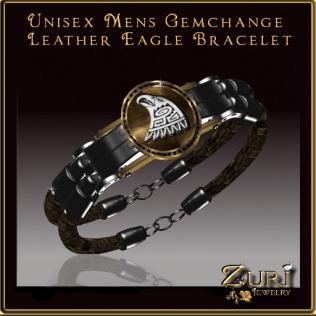 Zuri Rayna~Unisex Gemchange Leather Eagle Bracelet