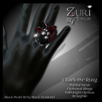 Charlotte Ring - Blk Pearl_Blk Dia_Ruby