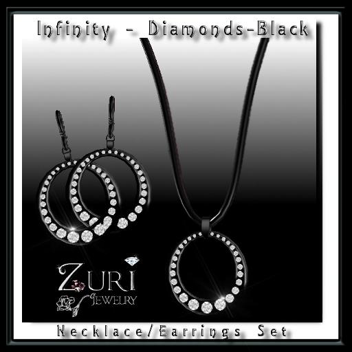 Infinity Diamonds-Black-Necklace & Earrings Set