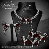 Lotis Collection - Diamond Ruby Black Sterling