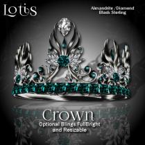 Lotis Crown - Alexandrite_Diamond Blk Sterling