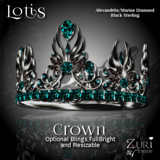 Lotis Crown - Alexandrite_Marine-Blk Sterling