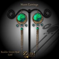 Moon Earrings - Boulder Green Opal_Gold