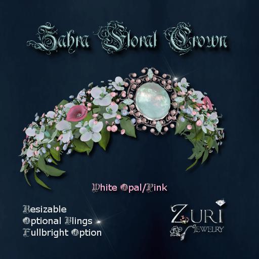 Zuri Rayna-Zahra Floral Crown-White Opal-PinkPIC
